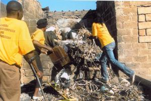 St John volunteers clean up around Lusaka as part of their cholera campaign