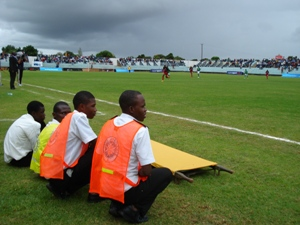 St John volunteers wait pitch side in case of injuries